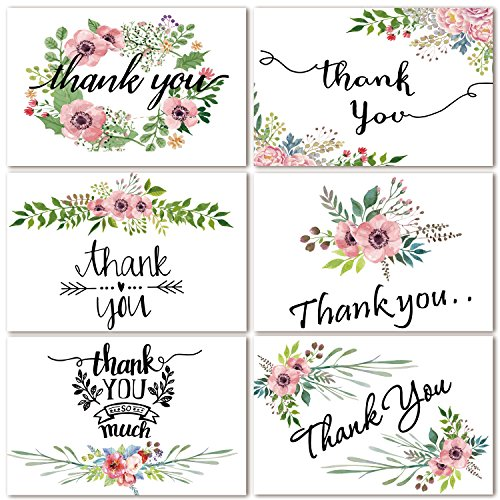 Thank you cards floral flower greeting cards notes for wedding baby a handwritten thank you card says a lot in todays digital day and age our thank you sets are perfect for weddings birthday parties showers m4hsunfo